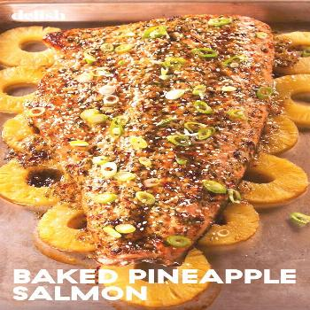 Baked Pineapple Salmon You'll be absolutely HOOKED on this Baked Pineapple Salmon. Get the recipe a