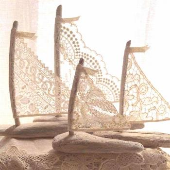Maybe use leftover lace for sailboats on greeting cards. -  ...#cards