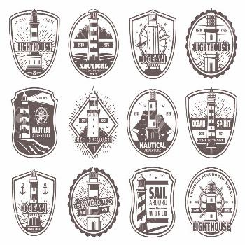 Nautical lighthouse icons, seafarer marine safety sailing adventure badges. Vector sea beacon with