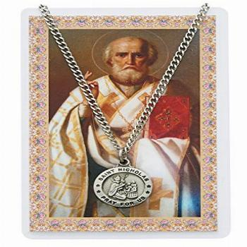 Saint Nicholas 3/4-inch Pewter Medal Pendant Necklace with