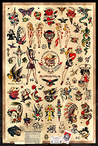Sailor Jerry Tattoo Flash (Style B) Poster 24x36quot (60.96 x