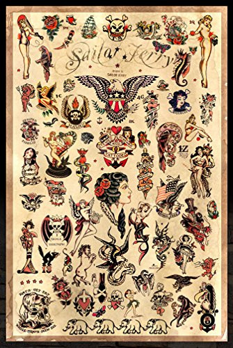 Sailor Jerry Tattoo Flash (Style C) Poster 24x36quot (60.96 x